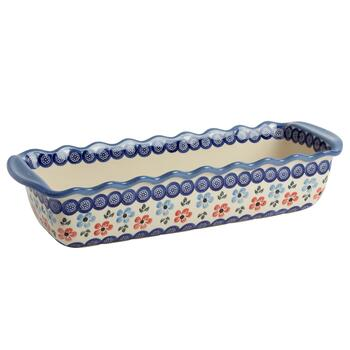 Polish Pottery Floral Chain Fluted Loaf Pan
