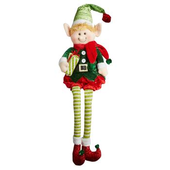 "15"" Dangling Legs Green Stripes Sitting Elf Boy"