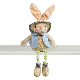 "18.5"" Green Plaid Dangling Legs Bunny Sitter Decor view 1"