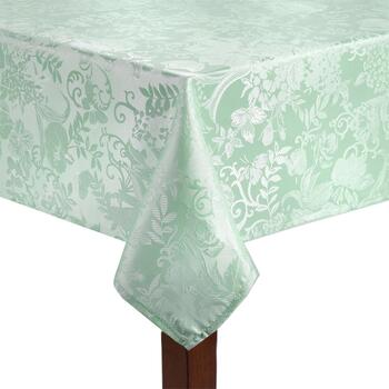 Solid Floral Damask Easy-Care Tablecloth