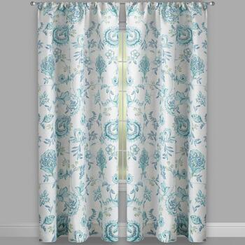 Leonie Blue Floral Rod Pocket Window Curtains, Set of 2 view 2