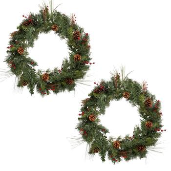"30"" Brown Pinecone and Berry Wreaths, Set of 2"