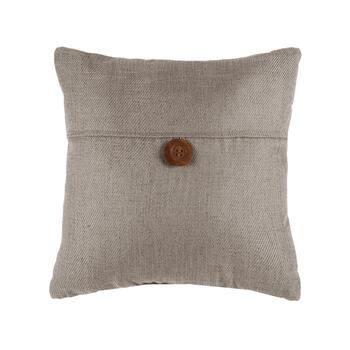 Basketweave Solid Color Square Throw Pillow with Button