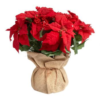 Faux Poinsettia with Burlap Wrapped Pot