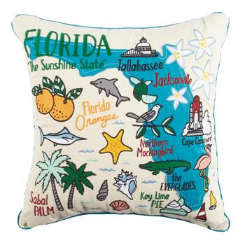 "Grey Whale Outfitters™ ""The Sunshine State"" Florida Square Throw Pillow"
