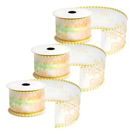 "10-Yard ""Happy Easter"" Sheer Wired Ribbons, Set of 3"