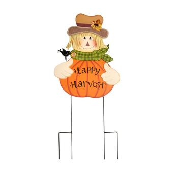 """Happy Harvest"" Pumpkin Scarecrow Stake"