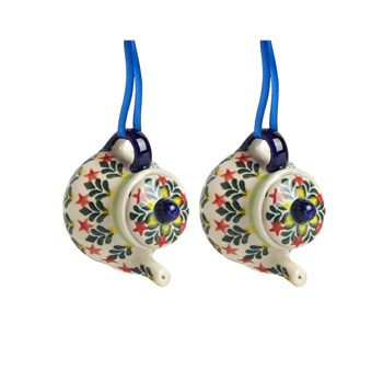 Polish Pottery Hand-Painted Red Star Teapot Ornaments, Set of 2 view 1