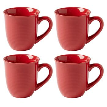 Bistro Basics Solid Red Mugs, Set of 4