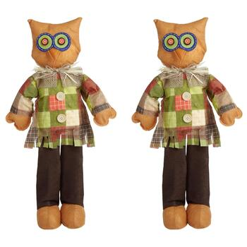 "24"" Owl Standing Scarecrows Decor, Set of 2"