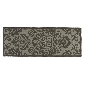 Gray Floral All-Weather Hand-Hooked Rug view 3