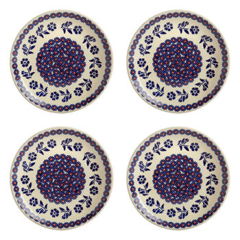 Polish Pottery Blue/Orange Flowers Salad Plates, Set of 4 view 1