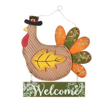 "13"" ""Thanksgiving"" Turkey Glittered Wood Sign"
