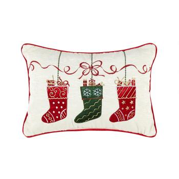 Holiday Stockings Embellished Cotton Blend Oblong Throw Pillow