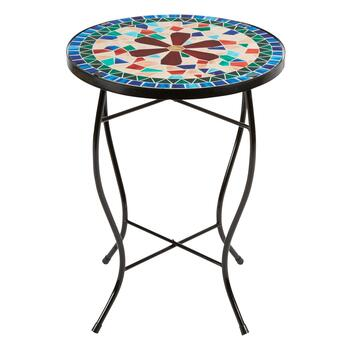 "16"" Red Flower Mosaic Round Table"