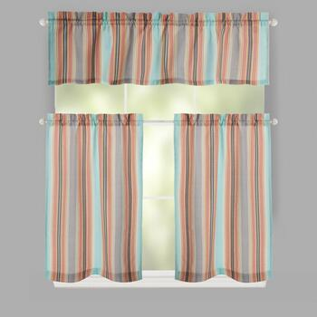 Traditions by Waverly® Opal Stripes Rod Pocket Window Tier & Valance Set