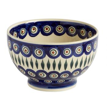 Painted Peacock Small Footed Serving Bowl