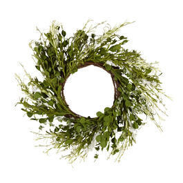 "The Grainhouse™ 18"" White Flowers and Leaves Wreath view 1"