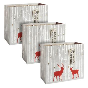 """Season's Greetings"" Deer Heavyweight Gift Bags, Set of 3"