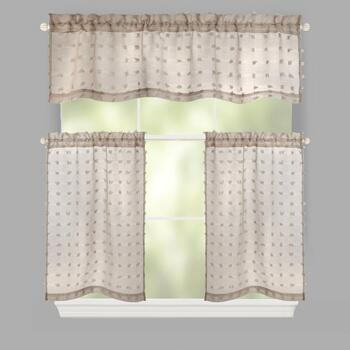 Frayed Jacquard Rod Pocket Window Tier & Valance Set