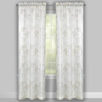 Ivory Floral Scroll Embroidered Window Curtains, Set of 2 view 2