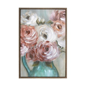 "24""x36"" Blush Blooming Flowers Framed Canvas Wall Art"