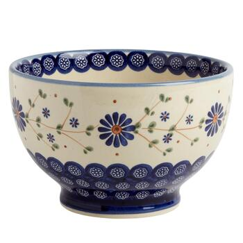 Polish Pottery Floral Peacock Weave Footed Bowl
