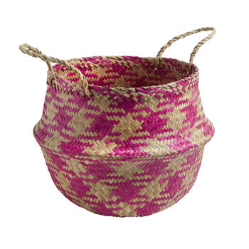 Checkered Plaid Woven Round Seagrass Storage Basket view 1