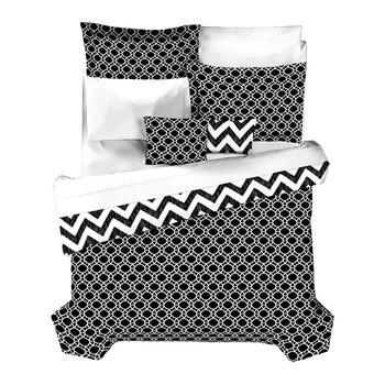 Casual Living by Jessica Sanders Black and White Chevron Reversible Comforter Set view 2