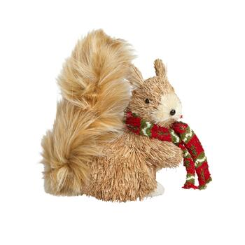 "8"" Bushy Light Tailed Squirrel with Scarf Decor"