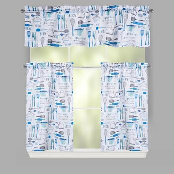 Blue Cooking Tools Window Tier & Valance Set