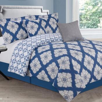 Navy Medallion Comforter Set, 5-Piece