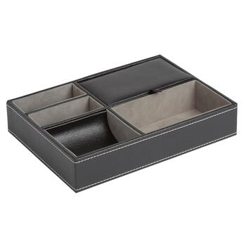 Black Faux Leather Valet Box Tray