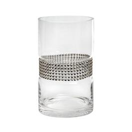 "8"" Rhinestone-Studded Glass Vase"