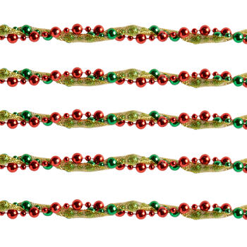 12' Red/Green/Gold Ribbon & Bead Garlands, Set of 2