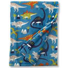 "50"" x 70"" Boys Teal Dinosaurs Throw Blanket view 1"