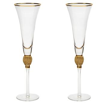 Gold Luxe Clear Rhinestone Fluted Wine Glasses, Set of 2