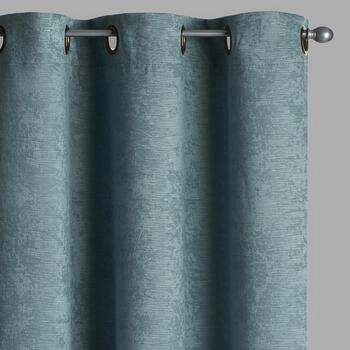 Embosssed Stripe Room-Darkening Window Curtains, Set of 2