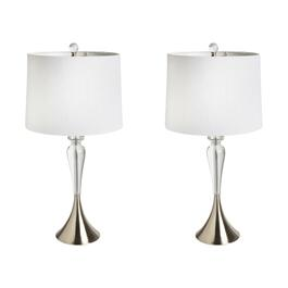 "28"" Crystal Teardrop Table Lamps, Set of 2"