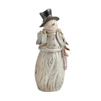"12"" Snowman with Present Decor"