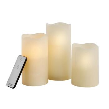 LED Pillar Candles with Remote, 4-Piece