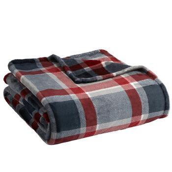 Famous Maker Red/Gray Plaid Plush Blanket