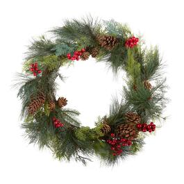 24 red berries and pinecones artificial twig wreath