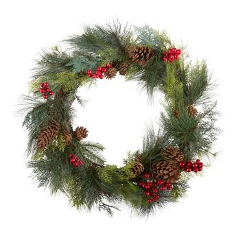 "24"" Red Berries and Pinecones Artificial Twig Wreath"