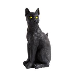 "13"" Black Cat Halloween LED Light-Up Statue"