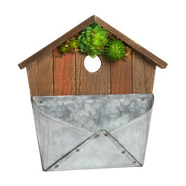 "12"" Wood Succulent Birdhouse Wall Decor with Metal Letter Holder view 1"