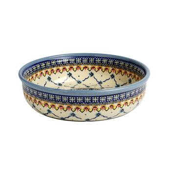 "11"" Polish Pottery Blue Floral Link Fruit Bowl"