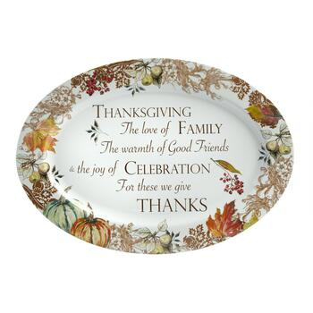 "14""x20"" ""We Give Thanks"" Oval Serving Platter view 2"