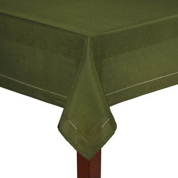 Solid Dark Green Hemstitch Microfiber Tablecloth