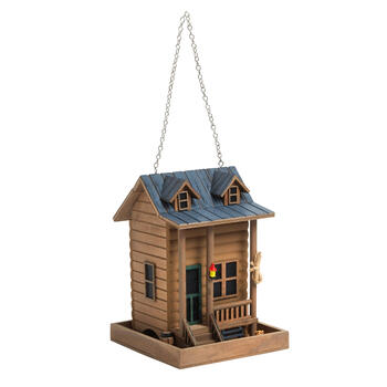Log Cabin Birdhouse view 1